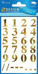 Avery Zweckform Z-Design No. 59128 öntapadó számok - arany színben - kiszerelés: 2 ív / csomag (Avery Z-Design 59128)