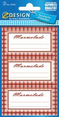 """Avery Zweckform Z-Design No. 59395 papír matrica befőttes üvegre - piros kockás kerettel, """"Marmelade"""" felirattal - kiszerelés: 2 ív / csomag (Avery Z-Design 59395)"""