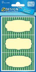 Avery Zweckform Z-Design No. 59398 papír matrica befőttes üvegre - csíkos, zöld színű kerettel - kiszerelés: 2 ív / csomag (Avery Z-Design 59398)