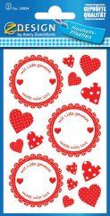 Avery Zweckform Z-Design No. 59894 papír matrica befőttes üvegre - piros szívecskés mintával - kiszerelés: 2 ív / csomag (Avery Z-Design 59894)