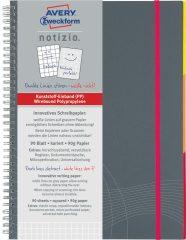 Avery Zweckform Notizio No. 7015 négyzethálós spirálfüzet A5-ös méretben, szürke színű műanyag borítóval (Avery 7015)