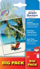 Avery Zweckform No. C2495-100 tintasugaras 100 x 150 mm (A6) méretű, 230 g -os különleges minőségű magasfényű fotópapír - 100 ív / doboz (Avery C2495-100)