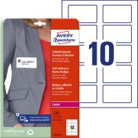 Avery Zweckform No. L4785-20 lézeres A4 fehér textilre ragasztható névcímke (méret: 80 x 50 mm, 200 címke / csomag, 20 ív / csomag) (Avery L4785-20)