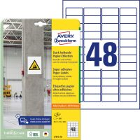 Avery Zweckform No. L7873-20 univerzális 45,7 x 21,2 mm méretű, fehér öntapadó etikett címke extra erős ragasztóval A4-es íven - 960 címke / csomag - 20 ív / csomag (Avery L7873-20)