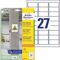 Avery Zweckform No. L7874-20 univerzális 63,5 x 29,6 mm méretű, fehér öntapadó etikett címke extra erős ragasztóval A4-es íven - 540 címke / csomag - 20 ív / csomag (Avery L7874-20)