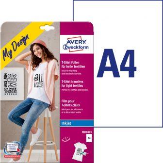 Avery Zweckform My Design MD1001 pólóra, textilre vasalható fólia, fehér és világos színű anyagokhoz - méret: 210 x 297 mm (A4) - 5 ív / csomag (Avery MD1001)