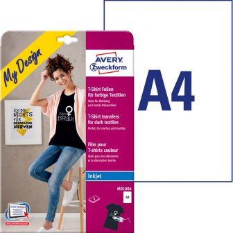 Avery Zweckform My Design MD1004 pólóra, textilre vasalható fólia, sötét és színes anyagokhoz - méret: 210 x 297 mm (A4) - 8 ív / csomag (Avery MD1004)