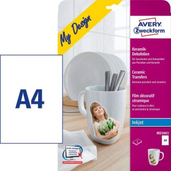 Avery Zweckform My Design MD3003 kerámia fólia tintasugaras nyomtatókhoz A4 - 210 x 297 mm - 2 ív / csomag (Avery MD3003)