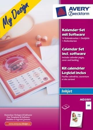 Avery Zweckform My Design MD5001 kreatív naptárkészítő készlet tintasugaras nyomtatókhoz A4 - 210 x 297 mm - 1 készlet / csomag (Avery MD5001)