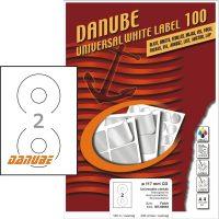 Danube MT-90993 univerzális 117 mm átmérőjű méretű fehér öntapadó CD etikett címke A4 -es íven (kiszerelés: 200 etikett címke / doboz - 100 ív / doboz) (Danube LCJ-099)