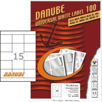 Danube MT-91023 univerzális 70 x 50,8 mm méretű fehér öntapadó etikett címke A4 -es íven (kiszerelés: 1500 etikett címke / doboz - 100 ív / doboz) (Danube LCJ-102)