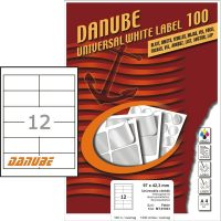 Danube MT-91033 univerzális 97 x 42,3 mm méretű fehér öntapadó etikett címke A4 -es íven (kiszerelés: 1200 etikett címke / doboz - 100 ív / doboz) (Danube LCJ-103)