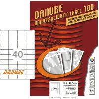 Danube MT-91163 univerzális 52,5 x 29,7 mm méretű fehér öntapadó etikett címke A4 -es íven (kiszerelés: 4000 etikett címke / doboz - 100 ív / doboz) (Danube LCJ-116)