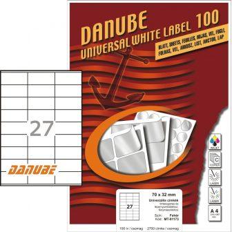 Danube MT-91173 univerzális 70 x 32 mm méretű fehér öntapadó etikett címke A4 -es íven (kiszerelés: 2700 etikett címke / doboz - 100 ív / doboz) (Danube LCJ-117)