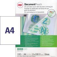 GBC HeatSeal fényes lamináló fólia - 216 x 303 mm méretű (A/4) - 2 x 100 mikron vastagságú, 100 ív / csomag (GBC 3740306)
