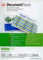 GBC HeatSeal fényes lamináló fólia - 111 x 154 mm méretű (A/6) - 2 x 125 mikron vastagságú, 100 ív / csomag (GBC 3740442)