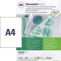 GBC HeatSeal fényes lamináló fólia - 216 x 303 mm méretű (A/4) - 2 x 80 mikron vastagságú, 100 ív / csomag (GBC IB585036)