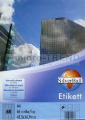 SilverBall univerzális 48,5 x 16,9 mm méretű öntapadó etikett címke A4 -es íven (kiszerelés: 6800 címke / doboz, 100 ív / doboz) (SilverBall 319-0022)