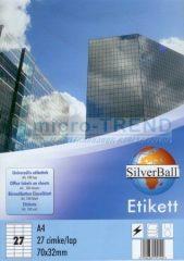 SilverBall univerzális 70 x 32 mm méretű öntapadó etikett címke A4 -es íven (kiszerelés: 2700 címke / doboz, 100 ív / doboz) (SilverBall 319-0062)