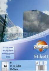 SilverBall univerzális 70 x 36 mm méretű öntapadó etikett címke A4 -es íven (kiszerelés: 2400 címke / doboz, 100 ív / doboz) (SilverBall 319-0064)