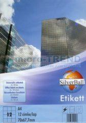 SilverBall univerzális 70 x 67,7 mm méretű öntapadó etikett címke A4 -es íven (kiszerelés: 1200 címke / doboz, 100 ív / doboz) (SilverBall 319-0072)
