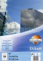 SilverBall univerzális 99,1 x 38,1 mm méretű öntapadó etikett címke A4 -es íven (kiszerelés: 1400 címke / doboz, 100 ív / doboz) (SilverBall 319-0092)