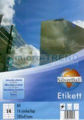 SilverBall univerzális 105 x 41 mm méretű öntapadó etikett címke A4 -es íven (kiszerelés: 1400 címke / doboz, 100 ív / doboz) (SilverBall 319-0103)