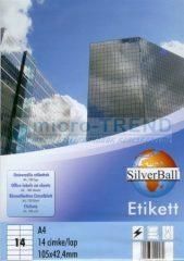 SilverBall univerzális 105 x 42,4 mm méretű öntapadó etikett címke A4 -es íven (kiszerelés: 1400 címke / doboz, 100 ív / doboz) (SilverBall 319-0104)
