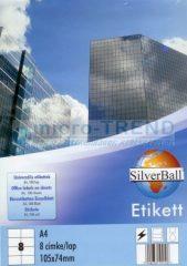 SilverBall univerzális 105 x 74 mm méretű öntapadó etikett címke A4 -es íven (kiszerelés: 800 címke / doboz, 100 ív / doboz) (SilverBall 319-0118)