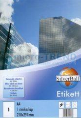 SilverBall univerzális 210 x 297 mm méretű öntapadó etikett címke A4 -es íven (kiszerelés: 100 címke / doboz, 100 ív / doboz) (SilverBall 319-0152)