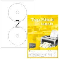 TopStick No. 8656 univerzális 117 mm átmérőjű, fehér öntapadó CD/DVD címke A4-es íven - 200 címke / doboz - 100 ív / doboz (TopStick 8656)
