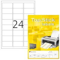 TopStick No. 8777 univerzális 64 x 34 mm méretű, fehér öntapadós etikett címke A4-es íven - 2400 címke / doboz - 100 ív / doboz (TopStick 8777)