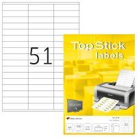 TopStick No. 8779 univerzális 70 x 16,9 mm méretű, fehér öntapadós etikett címke A4-es íven - 5100 címke / doboz - 100 ív / doboz (TopStick 8779)