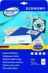 europe100 90903 univerzális 48,5 x 25,4 mm méretű fehér öntapadó etikett címke A4 -es íven - 1200 etikett címke / csomag - 30 ív / csomag (90903)